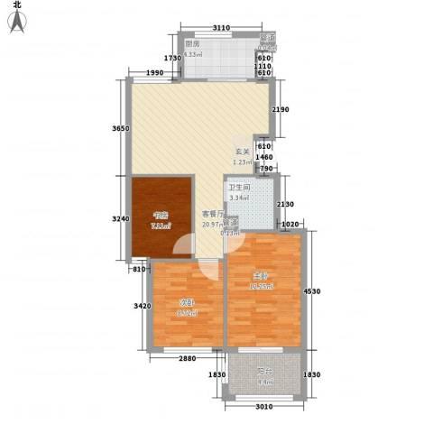 假日丽景3室1厅1卫1厨87.00㎡户型图
