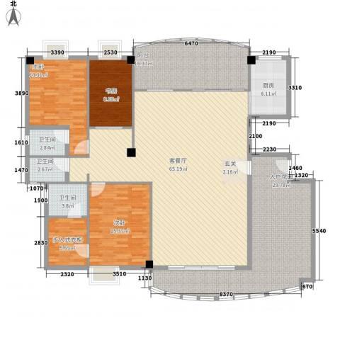 桃源居3室1厅3卫1厨278.00㎡户型图