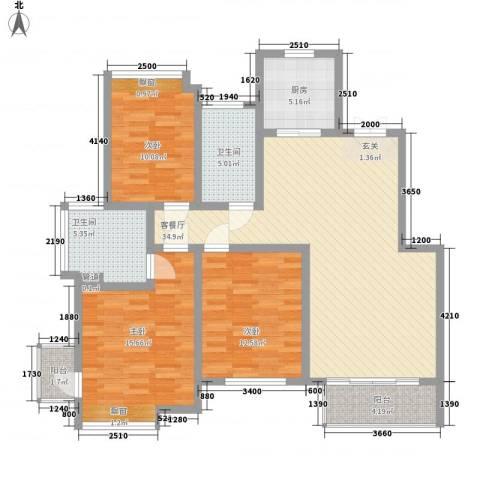 丽景花苑3室1厅2卫1厨136.00㎡户型图