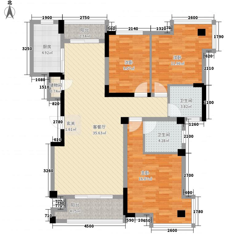 东方佳园124.78㎡A-6户型3室2厅2卫