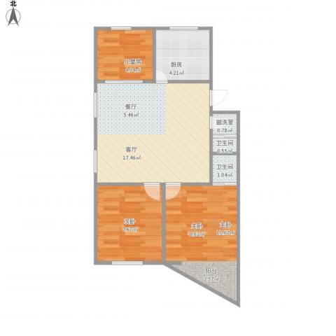 和平小区3室2厅2卫1厨64.00㎡户型图