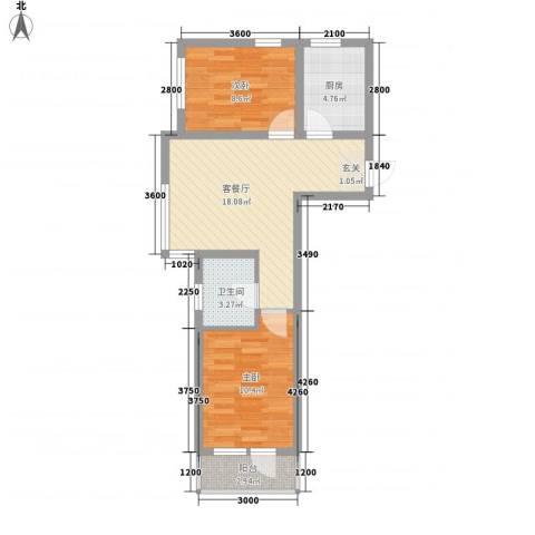 汇水湾2室1厅1卫1厨70.00㎡户型图