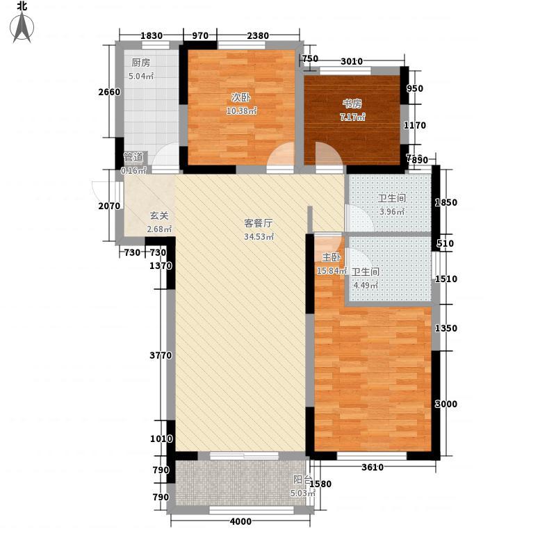 郑开橄榄城124.35㎡高层1#2#-A户型3室2厅2卫1厨