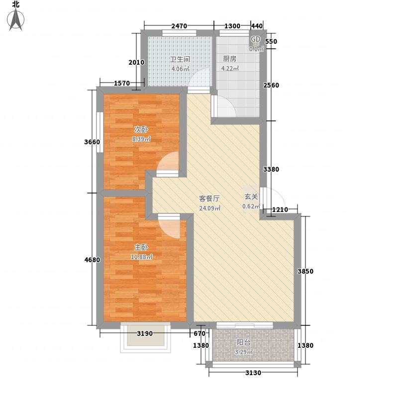 鑫苑都市领地82.00㎡户型2室