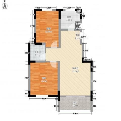 东南郡2室1厅1卫1厨66.73㎡户型图