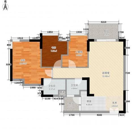 华凯豪庭3室0厅2卫0厨107.00㎡户型图