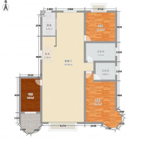 碧海绿洲3室1厅2卫1厨120.82㎡户型图
