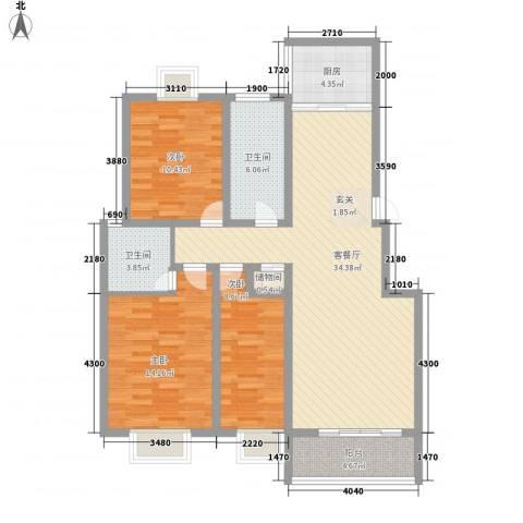 南浦花园3室1厅2卫1厨127.00㎡户型图