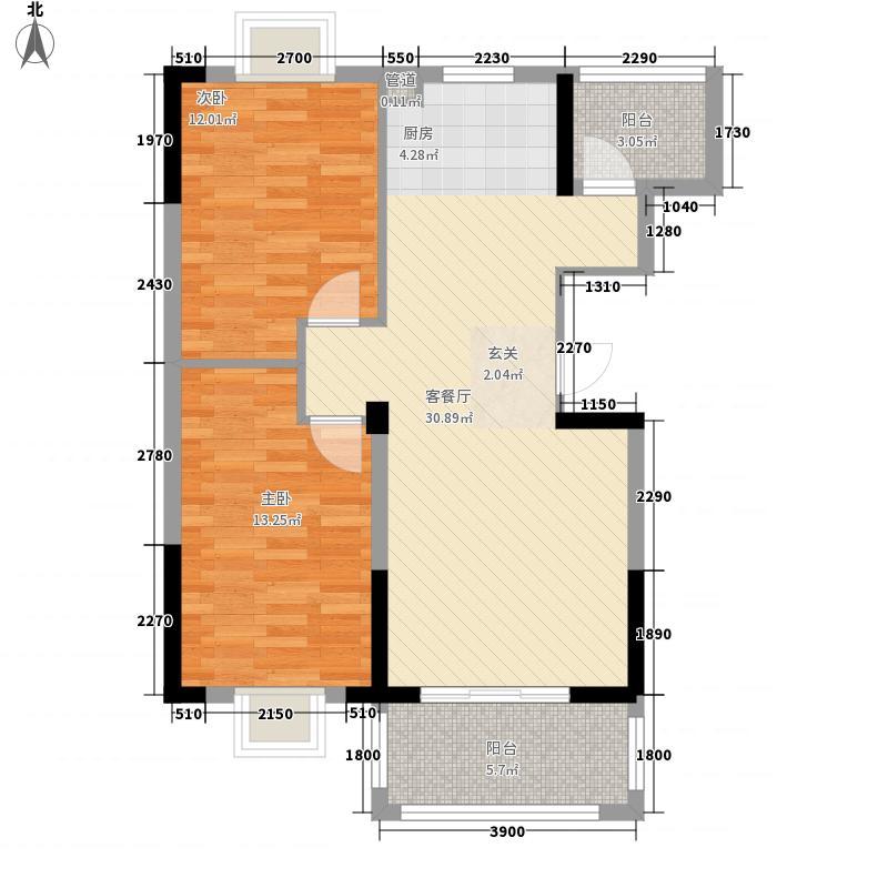 恒通华庭8.00㎡高层A3户型2室2厅1卫1厨