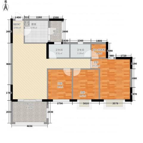明智银华花园3室1厅2卫1厨114.00㎡户型图
