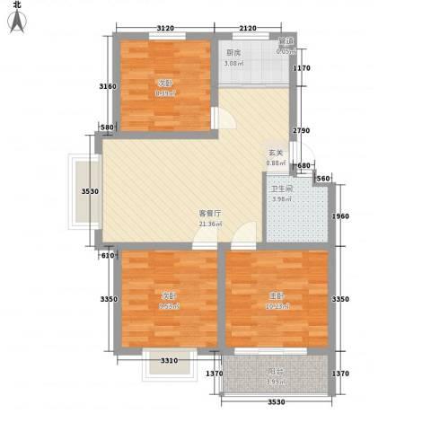 阳光新城3室1厅1卫1厨87.00㎡户型图