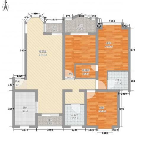 汇龙铭都3室0厅2卫1厨139.00㎡户型图