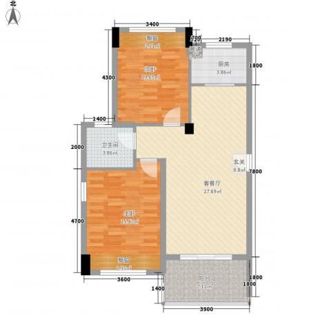 万泉明珠2室1厅1卫1厨96.00㎡户型图