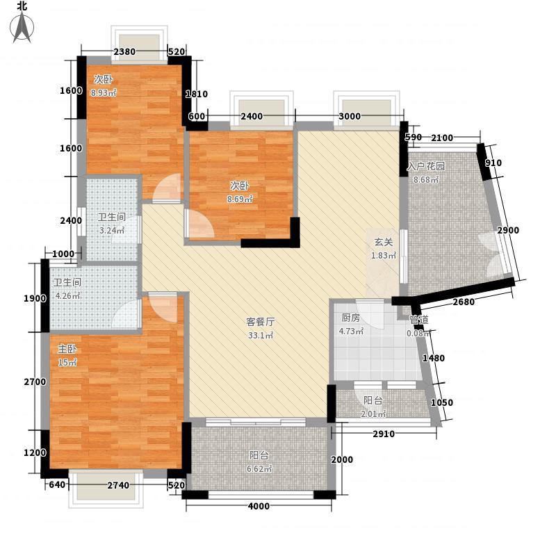 棕榈水岸户型3室2厅2卫1厨