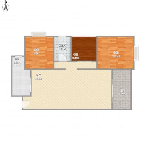 花滩国际新城丁香郡3室1厅1卫1厨90.80㎡户型图