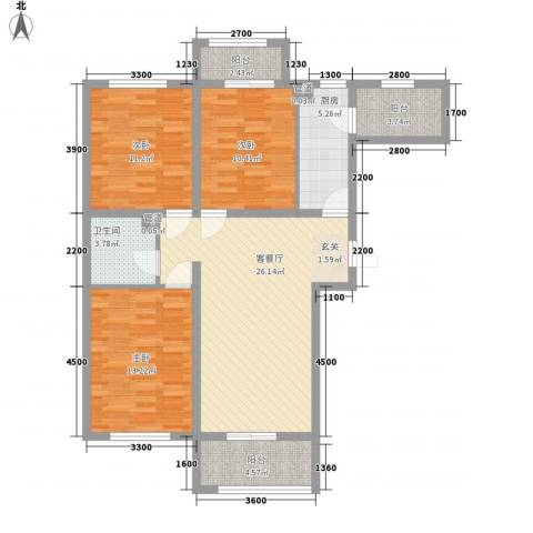 汉商银座3室1厅1卫1厨117.00㎡户型图