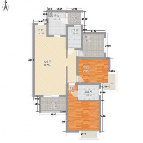 华润凤凰城三期2室1厅2卫1厨122.00㎡户型图