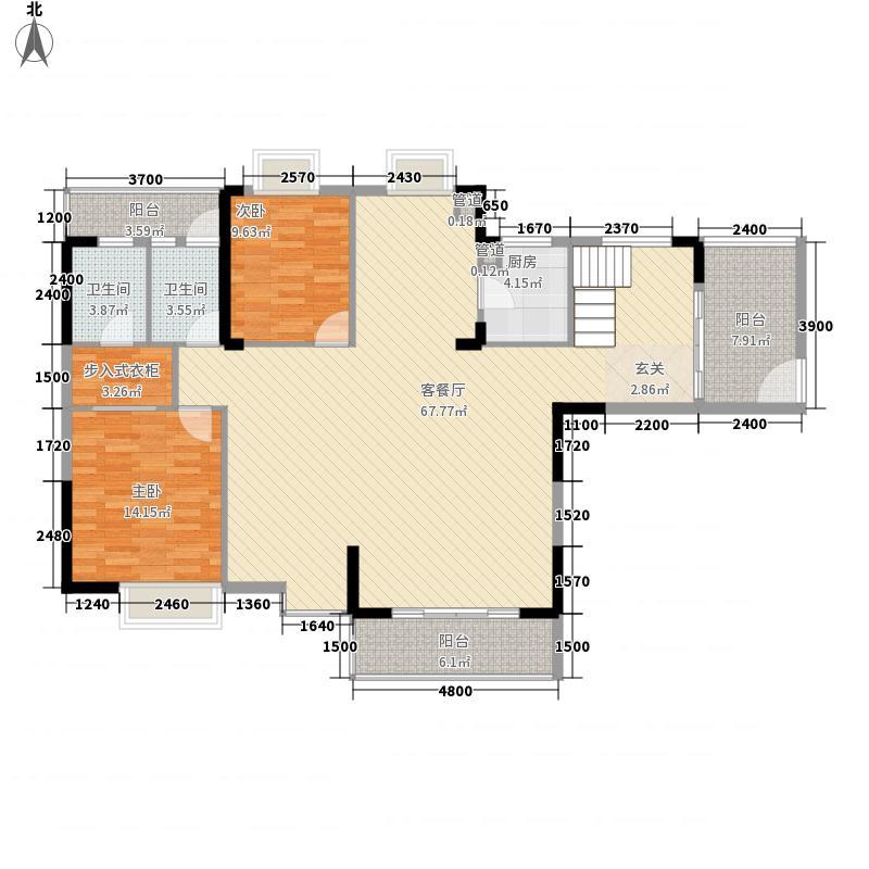 地一家园254.00㎡4号楼01单元复式第1层户型5室2厅4卫1厨