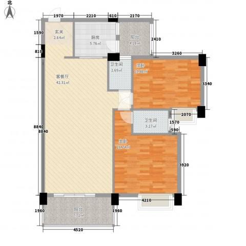 丽景华庭2室1厅2卫1厨96.13㎡户型图