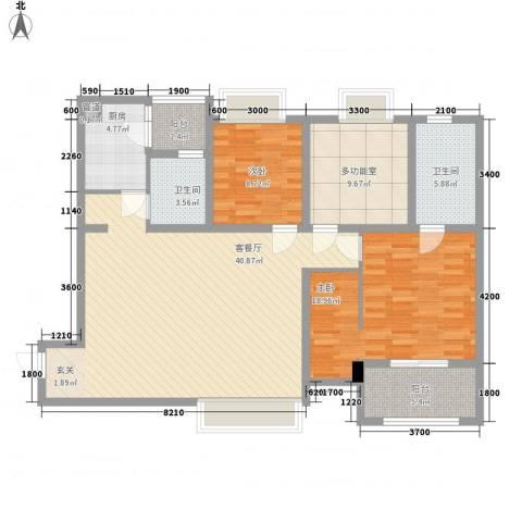 华润凤凰城三期2室1厅2卫1厨144.00㎡户型图