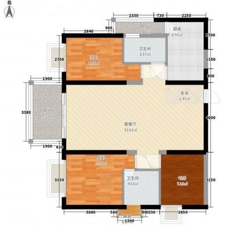 警备区龙华公寓3室1厅2卫1厨113.00㎡户型图