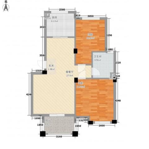 文塔苑2室1厅1卫1厨97.00㎡户型图