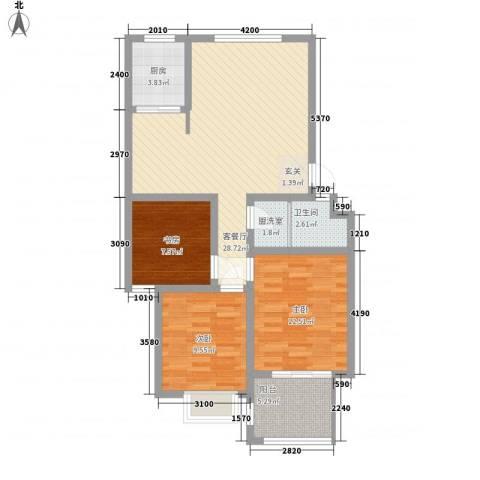 宏富颐景园3室2厅1卫1厨71.88㎡户型图