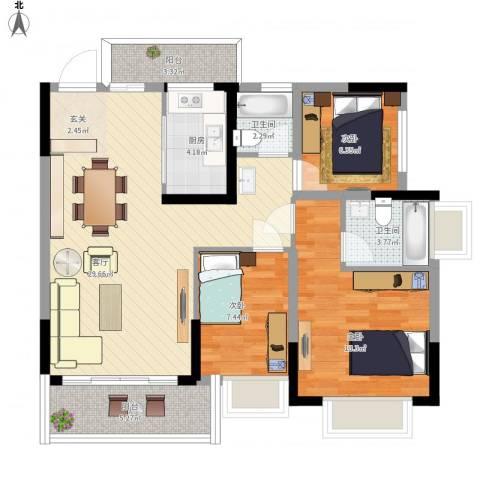 东逸湾花园3室1厅2卫1厨109.00㎡户型图