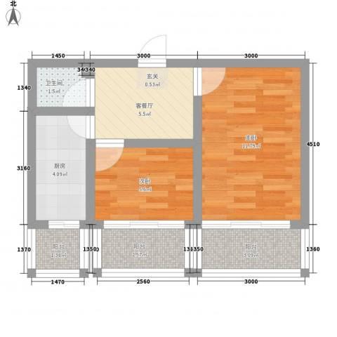 硅谷大厦2室1厅1卫1厨55.00㎡户型图