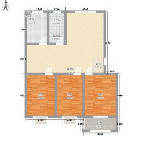 宏富颐景园3室2厅1卫1厨122.00㎡户型图