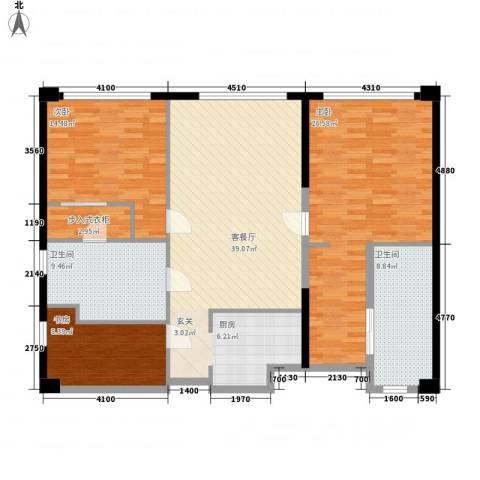 保利世贸公寓3室1厅2卫0厨153.00㎡户型图