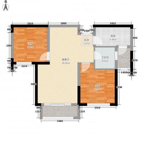 富锦园2室1厅1卫1厨86.00㎡户型图
