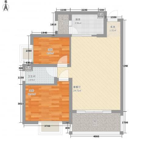 保税市场大厦2室1厅1卫1厨80.00㎡户型图
