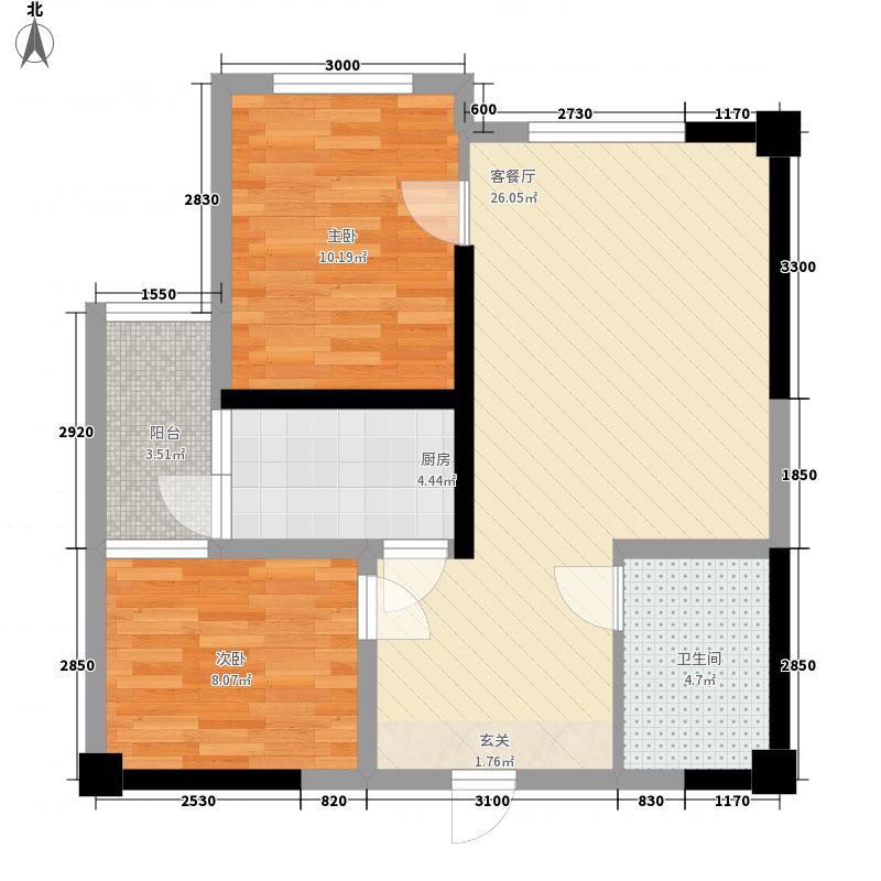 东方威尼斯酒店式公寓83.28㎡1号楼标准层电梯C型户型2室2厅1卫1厨