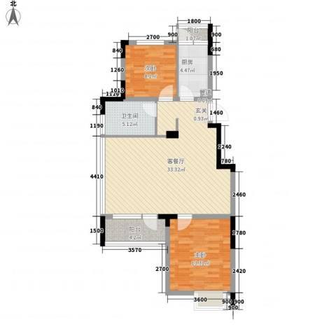 富锦园2室1厅1卫1厨100.00㎡户型图