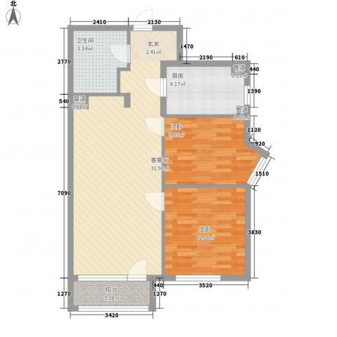 中康阁2室1厅1卫1厨97.00㎡户型图