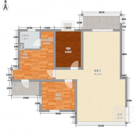 金桥花园3室1厅1卫0厨122.00㎡户型图
