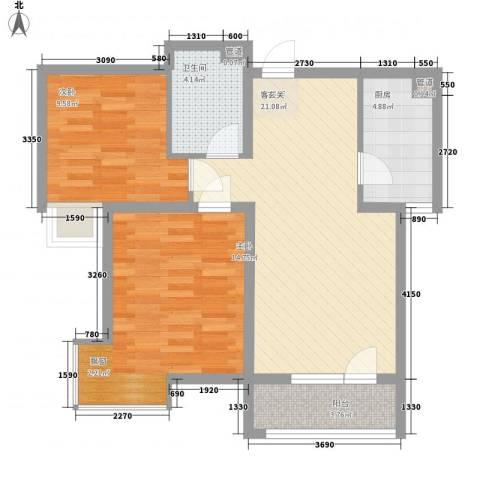 长电时代花园2室1厅1卫1厨87.00㎡户型图