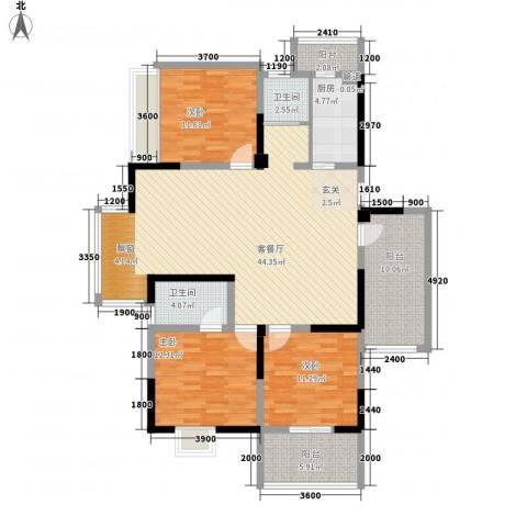 万事达小区3室1厅2卫1厨156.00㎡户型图