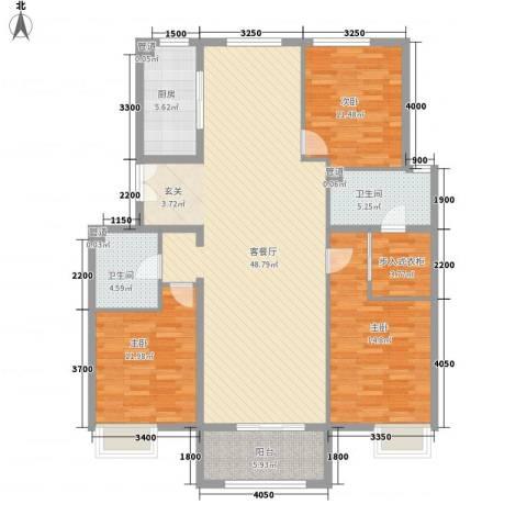 京投银泰・琨御府3室1厅2卫1厨156.00㎡户型图