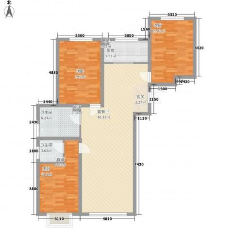经开四区3室1厅2卫1厨133.00㎡户型图