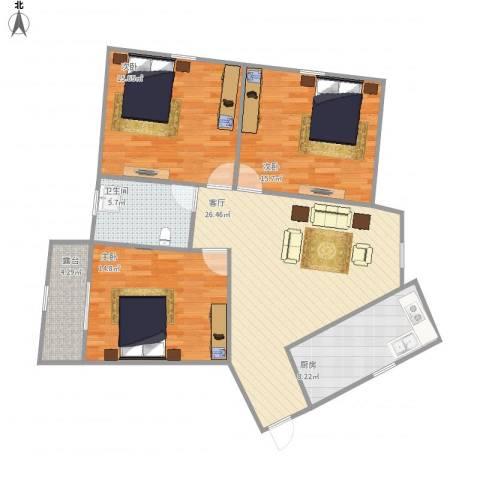 金田花园3室1厅1卫1厨121.00㎡户型图