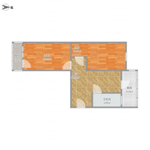 红波西里2室1厅1卫1厨46.04㎡户型图