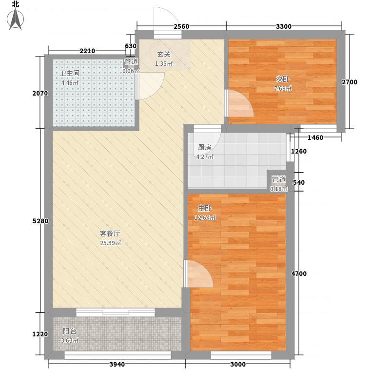 憬园3期上河�珠8.00㎡6号楼E7户型2室2厅1卫1厨