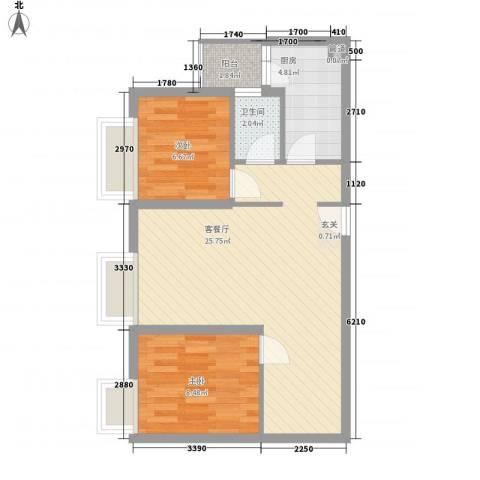 利生丽园2室1厅1卫1厨71.00㎡户型图