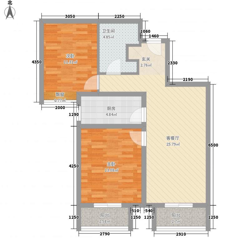 万隆财富广场82.00㎡R户型2室1厅1卫1厨