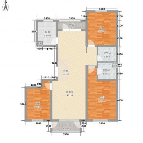 建和公务嘉园3室1厅2卫1厨140.00㎡户型图