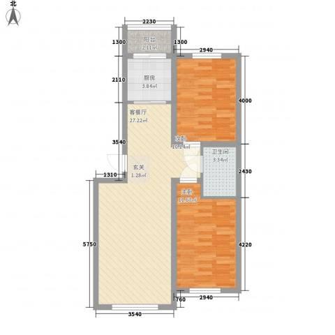 浦东明珠2室1厅1卫1厨78.00㎡户型图