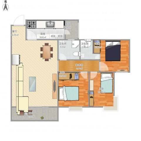 丽港城凯德公馆3室1厅2卫1厨152.00㎡户型图