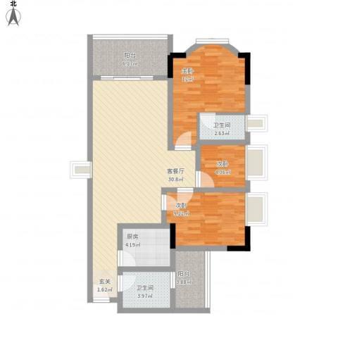 黄沙岗小区3室1厅2卫1厨90.40㎡户型图